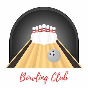 Banner promozionale di bowling, birilli, palla