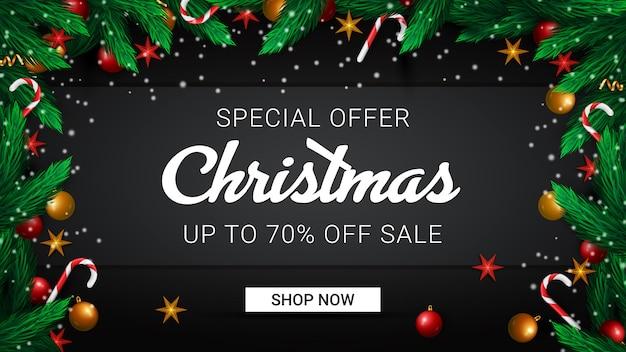 Banner promozionale per la vendita di natale con offerta speciale 70% di sconto