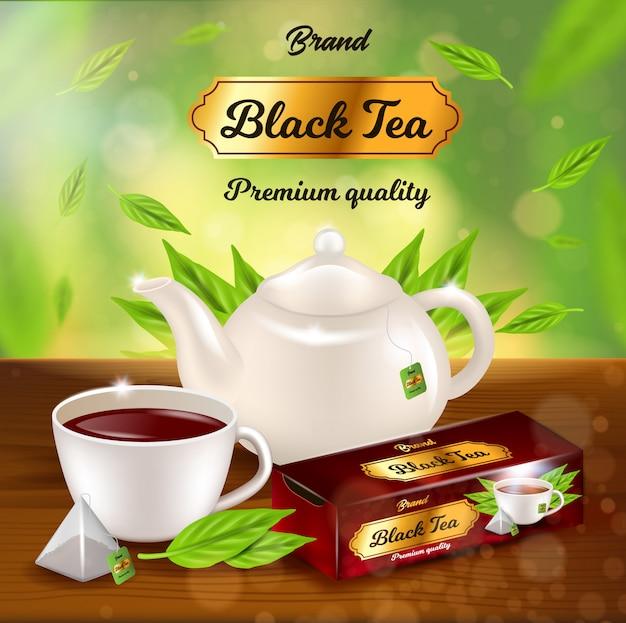 Banner promozionale per tè nero, vaso, tazza con bevanda