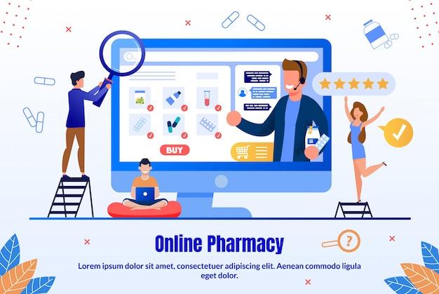 Banner promozionale piatto del negozio online di medicinali