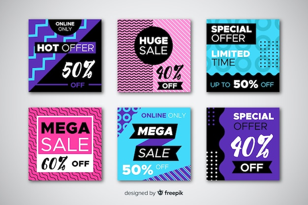 Banner promozionali di vendita per i social media