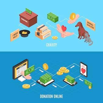 Banner pubblicitari di beneficenza con offerte per effettuare donazioni online e aiuti umanitari