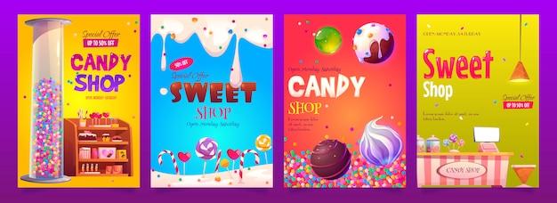 Banner pubblicitari di caramelle e negozi di dolciumi impostano vari tipi di pasticceria