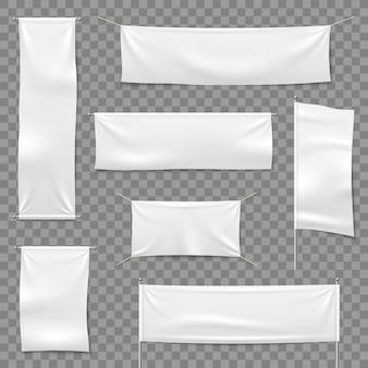 Banner pubblicitari tessili. bandiere e banner appeso, segno di stoffa orizzontale bianco tessuto bianco