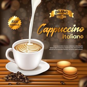 Banner pubblicitario cappuccino italiano arabica coffee.