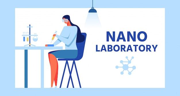 Banner pubblicitario cornice per nanolaboratorio moderno