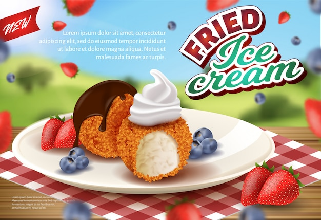 Banner pubblicitario deep fried ice cream in croccante