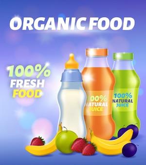 Banner pubblicitario di alimenti freschi biologici, latte per neonati e succo