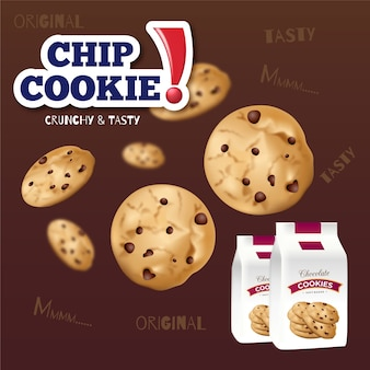 Banner pubblicitario di biscotti con patatine fritte