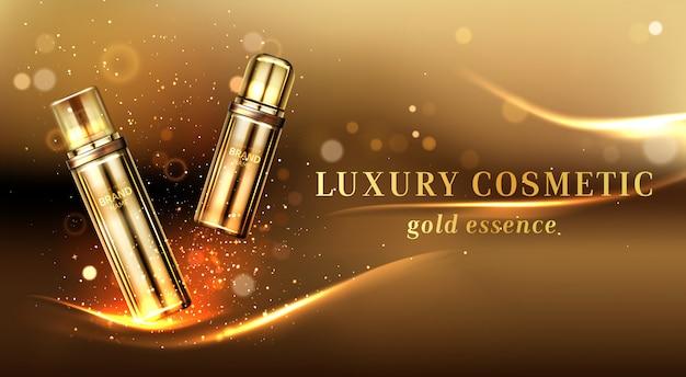 Banner pubblicitario di flaconi per la cosmetica d'oro, tubi per cosmetici