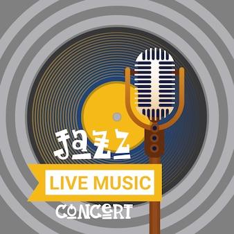Banner pubblicitario di jazz festival live music concert poster retro