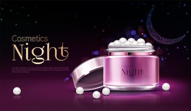 Banner pubblicitario di prodotto di notte cosmetici donna, poster di promozione.