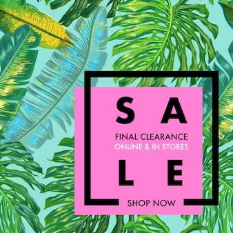Banner pubblicitario di vendita estiva con foglie di palma