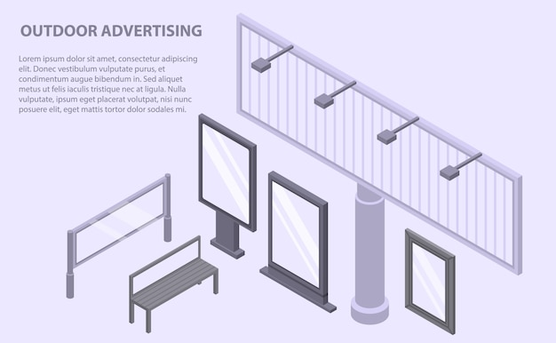 Banner pubblicitario esterno, stile isometrico