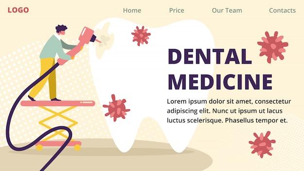 Banner pubblicitario orizzontale di medicina dentale.