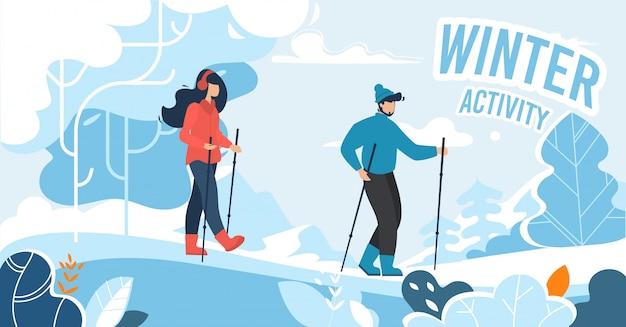 Banner pubblicitario per attività invernali per persone