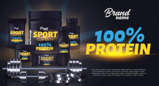 Banner pubblicitario per contenitori di prodotti per la nutrizione sportiva.