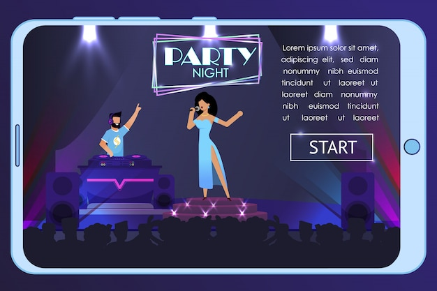 Banner pubblicitario per feste notturne su schermo mobile
