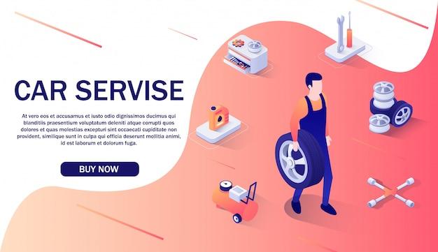 Banner pubblicitario per il servizio auto e negozio online.