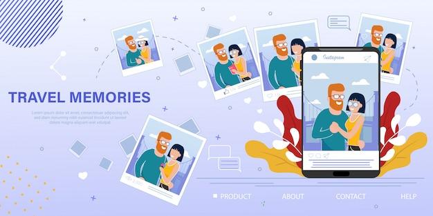 Banner pubblicitario piatto blog di memorie fotografiche di viaggio