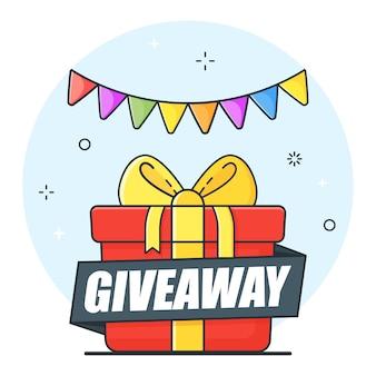 Banner pubblicitario vincitore su sfondo bianco, offerte regalo, omaggi e premi regalo.