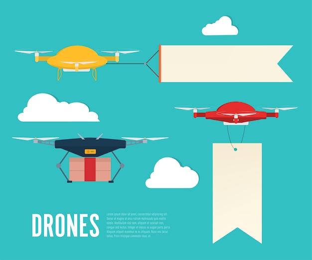 Banner pubblicitario volante con drone.