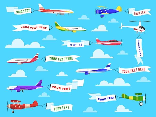 Banner pubblicitario volante. insieme del messaggio della pubblicità del testo del modello del nastro dell'elicottero di volo dell'aeroplano delle insegne del cielo