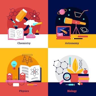Banner quadrati di scienza