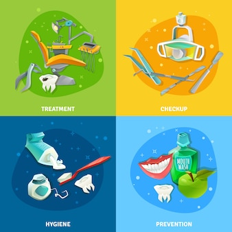 Banner quadrato 4 icone piatto del dentista