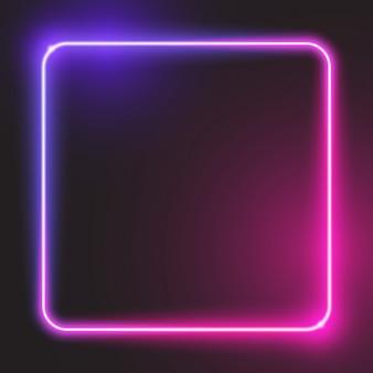 Banner quadrato arrotondato incandescente viola