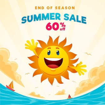 Banner quadrato di vendita estiva di fine stagione con sole e spiaggia