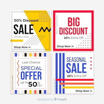 Banner quadrato di vendita geometrica per i social media