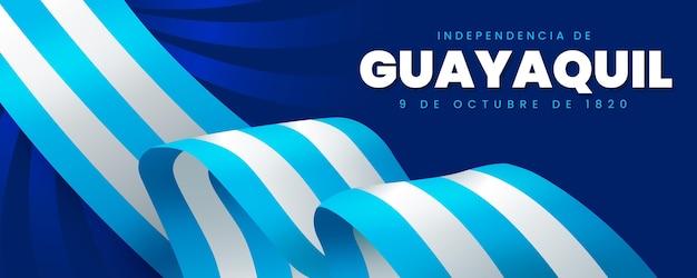 Banner realistico di indipendencia de guayaquil