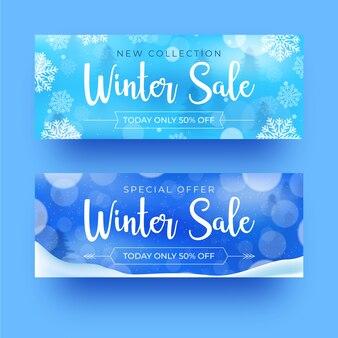 Banner realistico di vendita di inverno