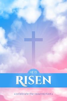 Banner religioso cristiano per la celebrazione di pasqua. banner verticale.