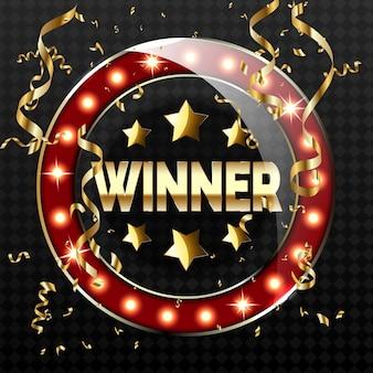 Banner retrò grande vittoria con lampade incandescenti. illustrazione per i vincitori di poker, carte, roulette e lotteria.