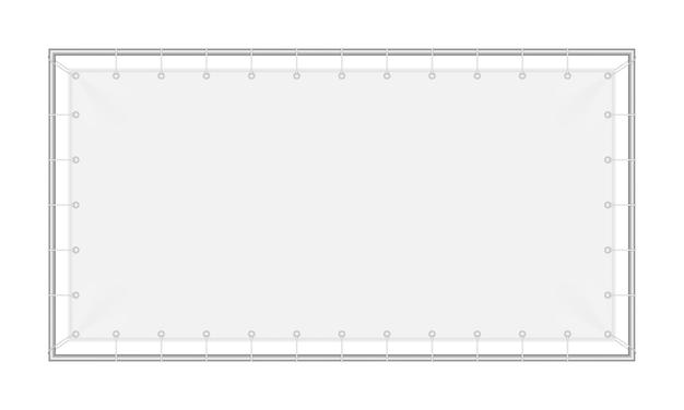 Banner rettangolare in tessuto, con struttura in metallo.