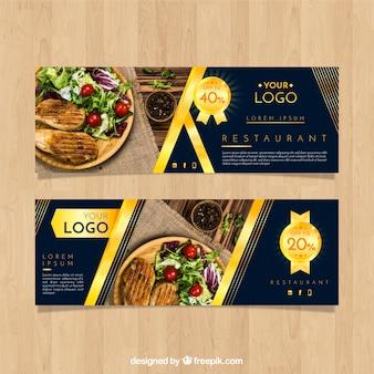 Banner ristorante con fotografia di cibo
