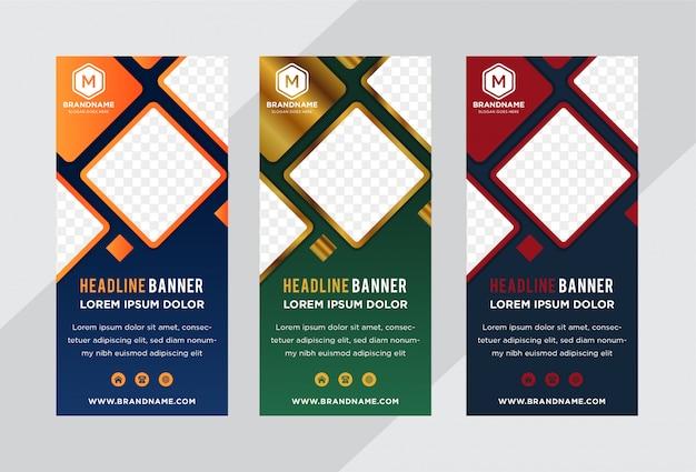 Banner roll-up template per affari o mostre.