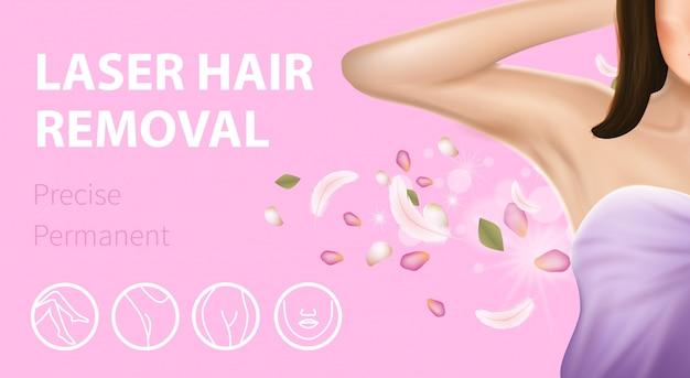 Banner rosa di epilazione laser di rimozione dei peli di ascella