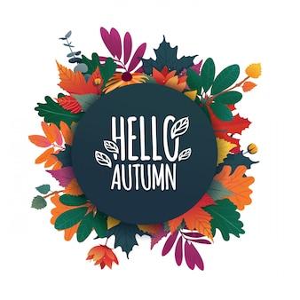 Banner rotondo con il logo hello autumn. carta per la stagione autunnale con cornice bianca ed erba. vettore