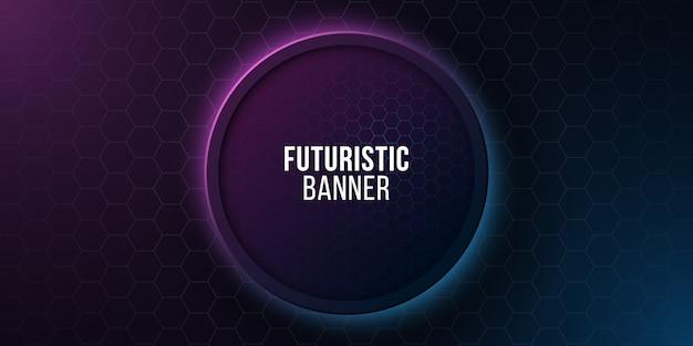 Banner rotondo futuristico con motivo a nido d'ape. design ad alta tecnologia. favi al neon luminosi blu e viola.
