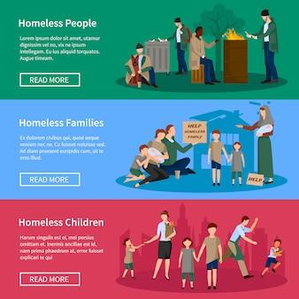 Banner senza casa set con persone che vivono per strada senza cibo e denaro
