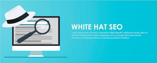 Banner seo cappello bianco e nero. lente di ingrandimento e altri strumenti di ottimizzazione dei motori di ricerca