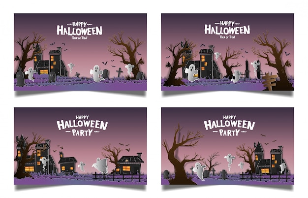 Banner set carta di halloween
