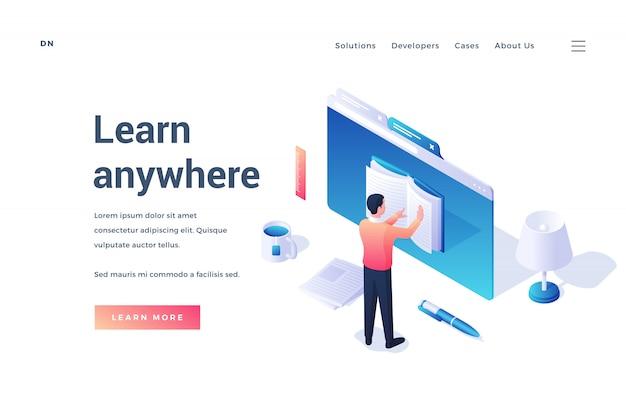 Banner sito web isometrico con libro di lettura uomo nel browser utilizzando un comodo servizio impara ovunque isolato su sfondo bianco