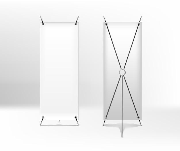 Banner spider vuoto per la pubblicità. roll up frontale e vista di ritorno. banner x-stand isolato su sfondo bianco