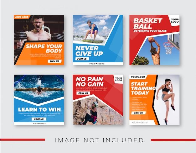 Banner sport per modello di raccolta di social media