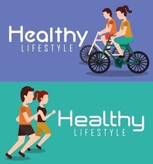 Banner sportivi persone attività di stile di vita sano