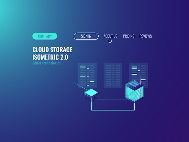 Banner stanza del server, tecnologia proxy vpn, datase del data center cloud, concetto blockchain